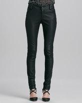 Alice + Olivia Leather Five-Pocket Skinny Jeans