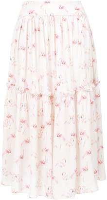 Olympiah flamingo print midi skirt