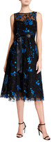 Rickie Freeman For Teri Jon Bird Embroidered Sleeveless Midi Tulle Cocktail Dress