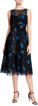 Rickie Freeman For Teri Jon Bird Embroidered Tulle Midi Cocktail Dress
