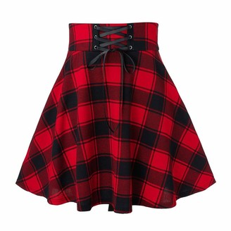 WAOTIER Skirt Women Fashion Ruffled Hem Dress High Waist Casual Lattice Printing Splicing Bandage Above Knee A-line Mini Skirt Red