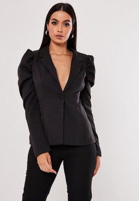 Missguided Black Co Ord Puff Sleeve Skinny Blazer