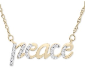 "Wrapped Diamond Peace 17"" Pendant Necklace (1/10 ct. t.w.) in 14k Gold, Created for Macy's"