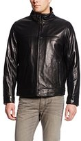 Tommy Hilfiger Men's Classic Leather Jacket with Shirt Collar