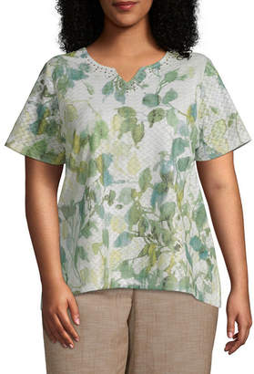 Alfred Dunner Santa Fe Abstract Leaves Top - Plus