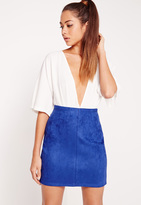 Missguided Faux Suede Mini Skirt Cobalt Blue