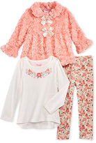 Nannette 3-Pc. Faux-Fur Jacket, Top & Leggings Set, Toddler & Little Girls (2T-6x)