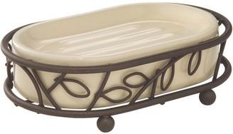 InterDesign Twigz Ceramic Soap Dish, Vanilla/Bronze