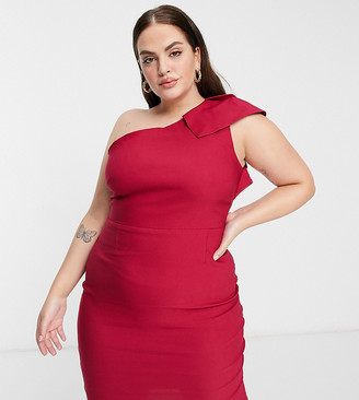 Vesper Plus one shoulder cap sleeve pencil dress in deep raspberry