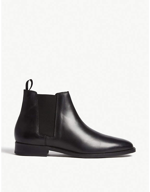 Sandro Mens Black Leather Chelsea Boots