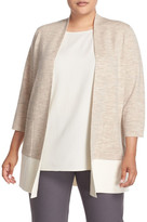 Eileen Fisher Colorblock Merino Blend Cardigan (Plus Size)