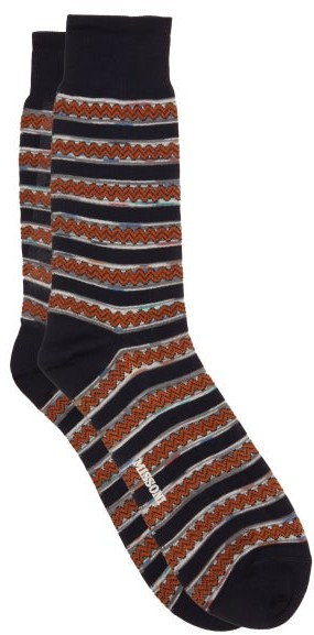 Missoni Zigzag Cotton Socks - Navy Multi