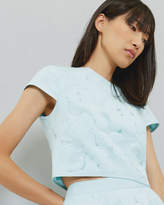 Ted Baker Burn Out Floral Cropped Top Pale Blue