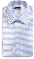 Tom Ford Windowpane-Pattern Silk Dress Shirt, Blue/White