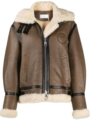 Chloé Shearling-Trim Hooded Coat