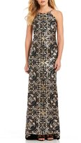 Calvin Klein Scroll Sequined Low Back Gown