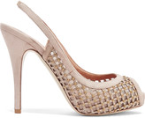 Valentino Embellished mesh and suede pumps