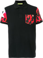 Versace contrast chest pocket polo shirt