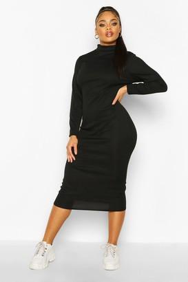 boohoo Plus Rib Knit Turtleneck Midi Dress