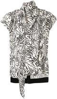 Proenza Schouler Zebra Print Short Sleeve Scarf Top