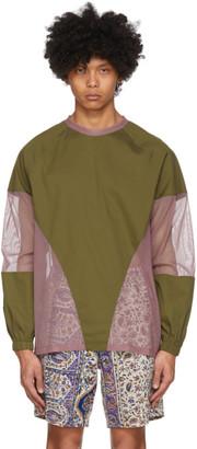 paria /FARZANEH Khaki and Purple Diamond Long Sleeve T-Shirt