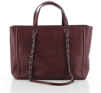Chanel CC Shopping Tote Stitched Deerskin Medium