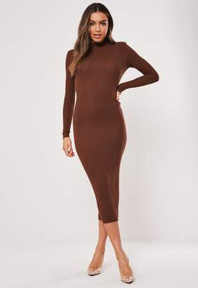 Missguided Brown Ribbed Crew Neck Knitted Midaxi Dress