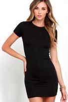 LuLu*s Hey Good Lookin' Short Sleeve Black Dress