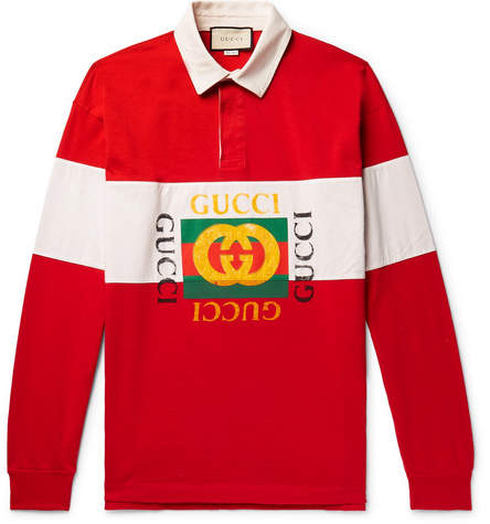 Gucci Logo-print Striped Loopback Cotton-jersey Rugby Shirt - Red