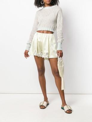 Stella McCartney Lace Trim Satin Shorts Yellow