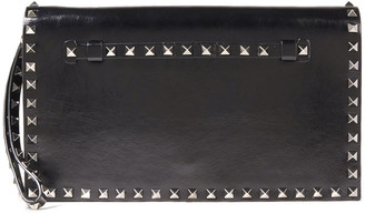 Valentino Rockstud Glossed Cracked-leather Clutch