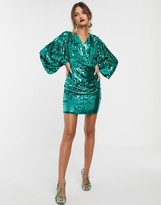 Asos Edition EDITION batwing drape mini cocktail dress in sequin
