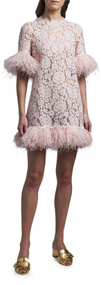 Dolce & Gabbana Feather-Trim Lace Short-Sleeve Dress