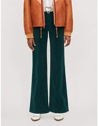 See by Chloe Corduroy mid-rise flared stretch-cotton trousers