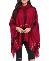 Moxeay Women's Tassel Plaid Turtleneck High Collar Poncho Knit Sweater Cloak