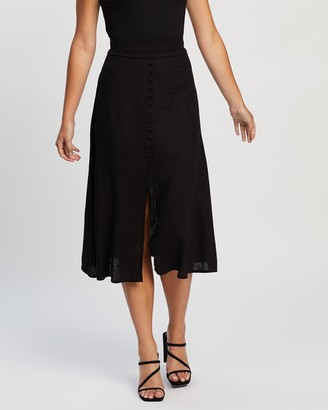 Atmos & Here Atmos&Here - Women's Black Midi Skirts - Vicki Button Front Linen Skirt - Size 18 at The Iconic