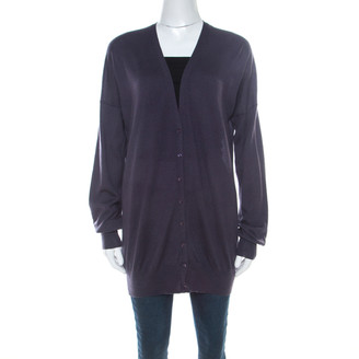 Loro Piana Purple Cashmere Suede Patch Detail Long Cardigan M