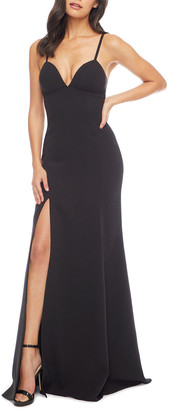 Dress the Population Alejandra Sweetheart Sleeveless Long Dress w/ Slit