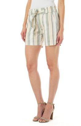 Liverpool Stripe Porkchop Pocket Belted Linen Blend Shorts