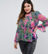 Asos Blouse In Floral Print With Ruffle Front