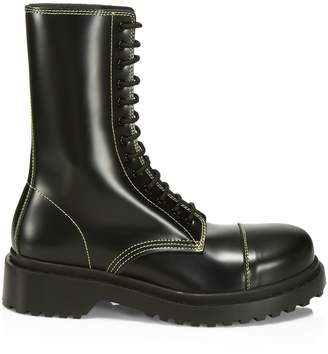 Balenciaga Leather Lace-Up Combat Boots