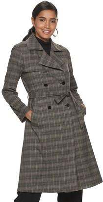 JLO by Jennifer Lopez Women's Plaid Trench Coat