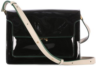 Marni Trunk Large Patent-leather Cross-body Bag - Black
