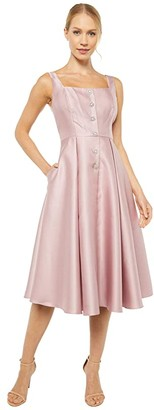 Adrianna Papell Mikado Tea Length Dress with Button Detail (Aurora Pink) Women's Dress