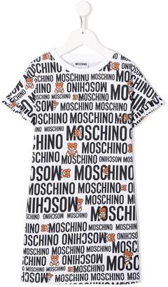 MOSCHINO BAMBINO TEEN all over logo T-shirt dress