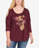 Jessica Simpson Trendy Plus Size Asli Cold-Shoulder Graphic Top