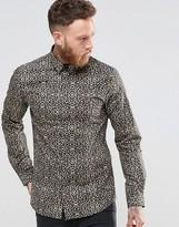 Noose & Monkey Skinny Shirt In Leopard Print