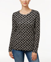 Charter Club Iconic-Print Glitter Top, Only at Macy's