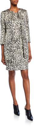 Albert Nipon Metallic Animal Jacquard 3/4-Sleeve Topper Jacket & Dress Set