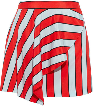 Alice + Olivia Nicky Draped Striped Silk Crepe De Chine Mini Skirt